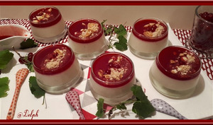 Panna cotta au coulis de groseilles