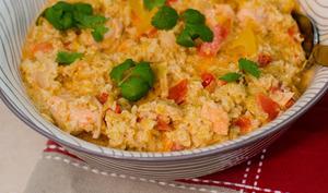 Boulgour au saumon, petits légumes et lait de coco au curry
