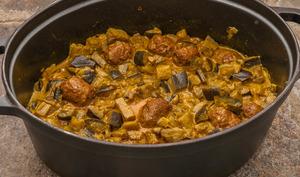Curry d'aubergines aux boulettes de boeuf