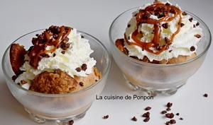 Glace confiture de lait cacao noisettes et crème fraîche