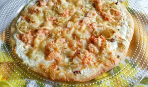 Pizza légère au saumon fumé