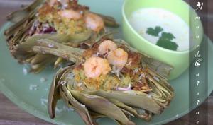Artichauts aux crevettes sautées et sauce Aïoli