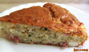 Gâteau courgette, fromage et jambon