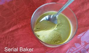 Crème dessert à la courgette crue, citron et thé matcha