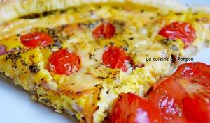 Tarte au fromage d'abbaye, lardons et tomates cerises