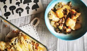 Gnocchis maison gratinés à la pancetta et aux champignons