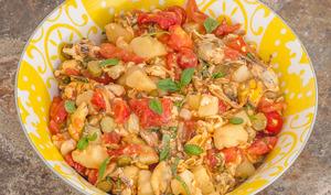Salade de moules aux pommes de terre et tomates
