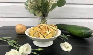 Roses de courgettes et pommes de terre au Boursin