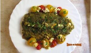 Maquereaux en croûte de pesto aux tomates cerises