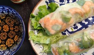 Rouleaux de printemps crevettes, poulet, saumon ou végétarien