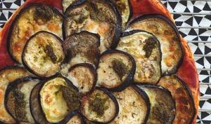 Tarte aubergine, mozzarella et pesto
