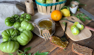 Confiture de tomates vertes, épices et agrumes