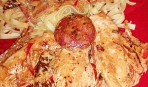 Aiguillettes de poulet à la crème de chorizo poivron et tomates confites