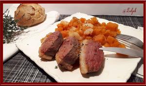 Magret de canard caramélisé aux navets et patate douce