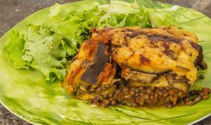 Moussaka d'aubergines aux lentilles et champignons