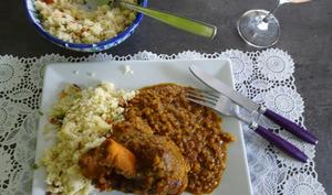 Souris d'agneau au couscous et ragoût de lentilles corail