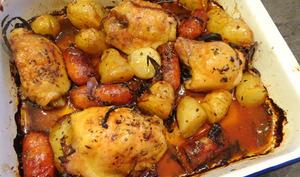 Plaque poulet, pommes de terre et chorizo