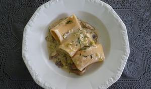 Pâtes aux champignons et poireaux