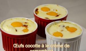 Œufs cocotte à la crème de camembert et lard fumé