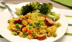 Riz aux saucisses et légumes au cookeo