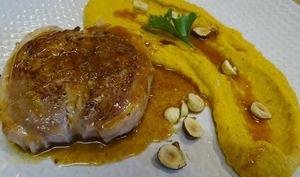 Tournedos de canard, réduction à l'orange et purée de carottes