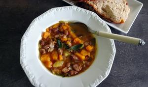 Soupe aux haricots borlotti et au potimarron