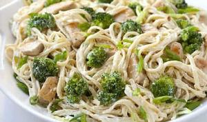Spaghettis poulet et brocoli