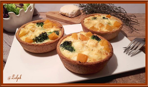 Quiche aux patates douces brocolis et Saint Marcellin