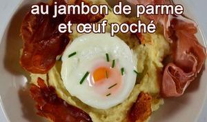 Crémeux de panais au jambon de parme et son œuf poché