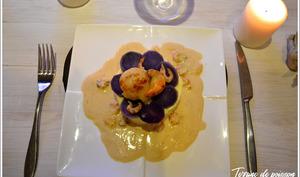 Terrine de poisson aux noix de Saint-Jacques et son médaillon de prunelle sauce Riesling
