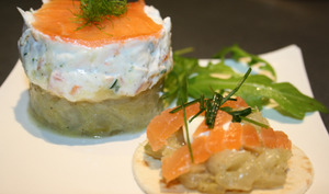 Ricotta de saumon sur sa compotée de fenouil
