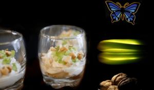 Verrines au roquefort poire céleri et noix