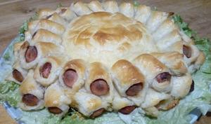 Soleil feuilleté aux knackis mozzarella et camembert