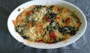 Lasagne de carasau aux épinards et fromage