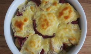 Gratin de pommes de terre au boeuf séché et raclette