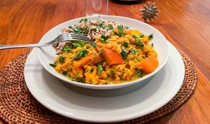 Curry de lentilles jaunes et de potimarron