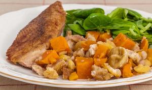 Oie aux patates douces et châtaignes