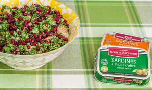 Chou kale aux sardines et à la grenade