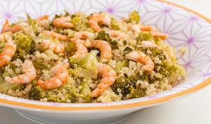 Quinoa aux crevettes et brocolis