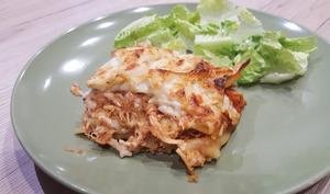 Lasagnes à l'effilochée de poulet et mozzarella