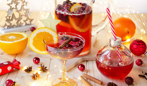 Punch prosecco canneberges