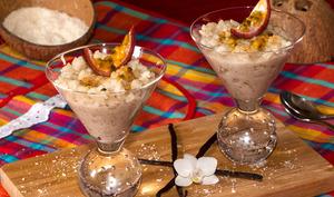 Riz au lait de coco à la vanille et fruits de la passion