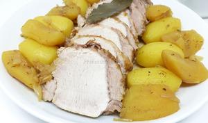 Rôti de porc au cidre et aux deux pommes
