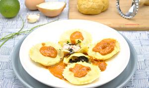 Ravioles langoustines et champignons