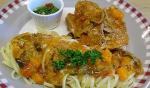 Osso bucco de dinde et son Gremolata aux agrumes et piment végétal