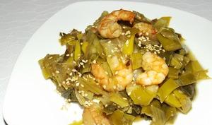Fondue de poireaux et crevettes à l'asiatique