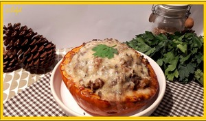 Potimarrons farcis aux champignons, marron et bœuf haché