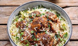 Spaghetti aux boulettes végétariennes