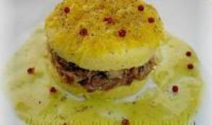 Polenta au Fromage et Confit de Canard, Sauce à l'Orange