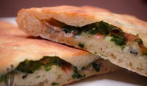 Foccacia au gorgonzola et jambon de Parme